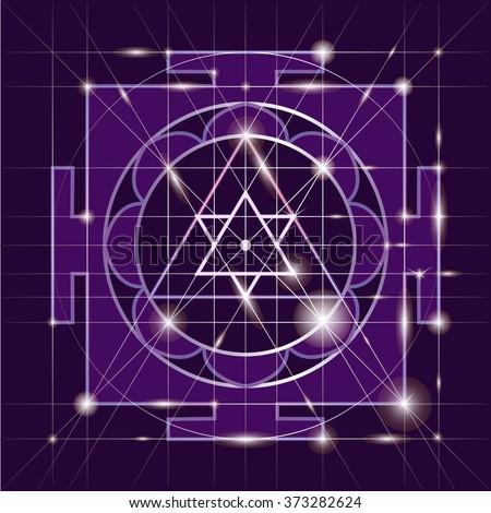 Ganapati Yantra - cosmic conductor of energy. Yantra Sree Ganesha. Sacred Geometry - stock vector