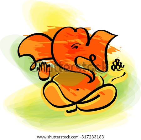 Ganesha in watercolor painting style. Vector. Eps10.