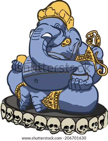Ganesha - most famous and worshiped elephant headed god in the Hindu pantheon. Vector illustration.