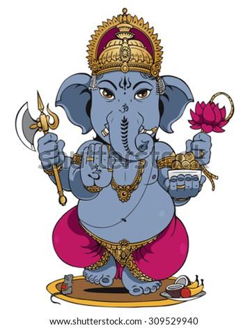 Ganesha on White Background  - stock vector