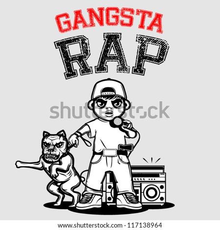 GANGSTA RAP, t-shirt special series - stock vector