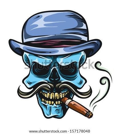Gangsta Skull with Cigar, Mustache and Retro Style Hat - stock vector