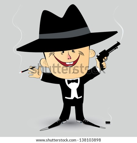 Gangster, A man dressed in a tuxedo with a gun and a cigarette in his hand. - stock vector