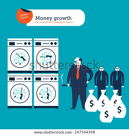 Gangster and money laundering. Vector illustration Eps10 file. Global colors. Text and Texture in separate layers. - stock vector