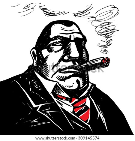 Gangster boss with cigar. Engraved style. Vector.