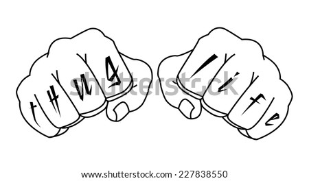 Gangster fists with thug life fingers tattoo. Man hands outlines vector illustration isolated on white  - stock vector