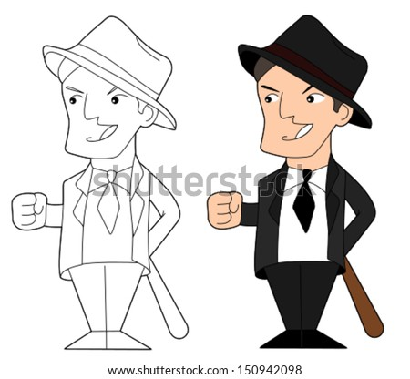 Gangster holding a baseball bat, cartoon / illustration isolated on a white background - stock vector