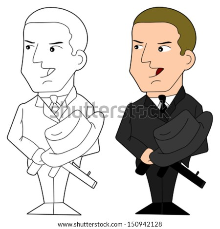 Gangster holding a gun, cartoon / illustration isolated on a white background - stock vector