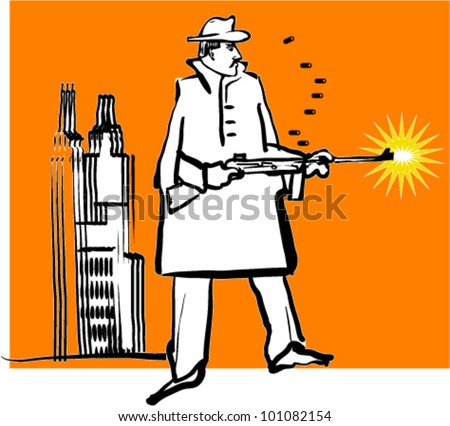 Gangster, illustration - stock vector