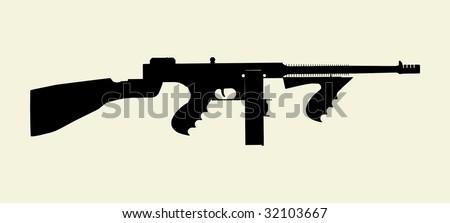 Gangster Machine Gun Vector 01 - stock vector
