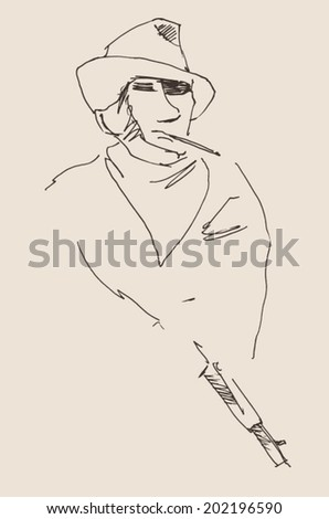 gangster (man holding a gun) vintage illustration, engraved retro style, hand drawn, sketch - stock vector