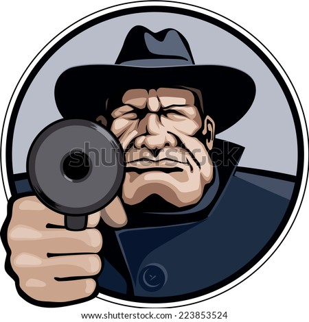 Gangster pointing gun. Eps8 CMYK Organized by layers Gradients free - stock vector
