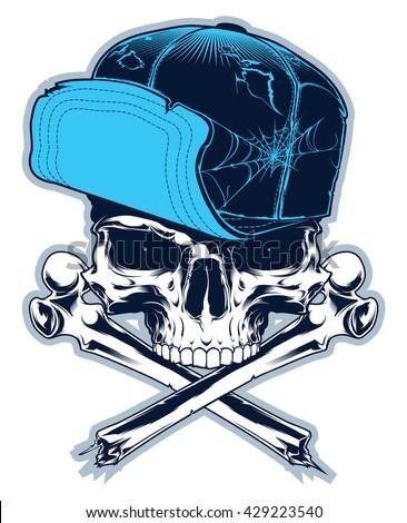 Gangster. Skull with cross bones and cap - stock vector