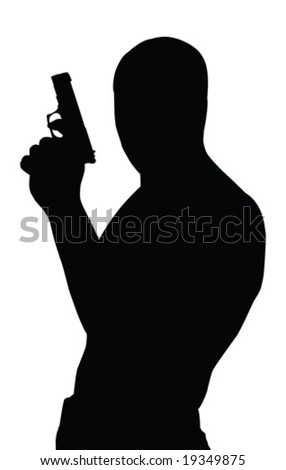Gangster vector silhouette with gun isolated - stock vector