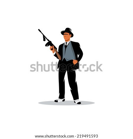 Gangster with a gun Branding Identity Corporate vector logo design template Isolated on a white background