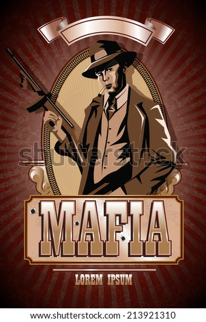 Gangster with a gun Thompson. Mafia, vector illustration. - stock vector
