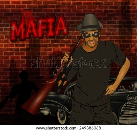 Gangster with weapon.Mafia background. - stock vector