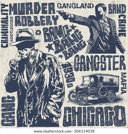 Gangsters 1930s set, hand drawn characters, words and design elements. vector illustration. - stock vector