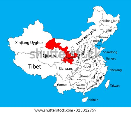 gansu province map china vector map illustration isolated on background editable china map vector