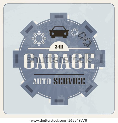 Garage auto service vintage retro sign blue design illustration - stock vector
