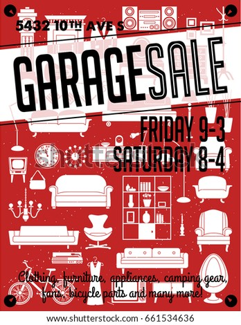 Garage Yard Sale Signs Box Household Stock Vector 661534636 ...