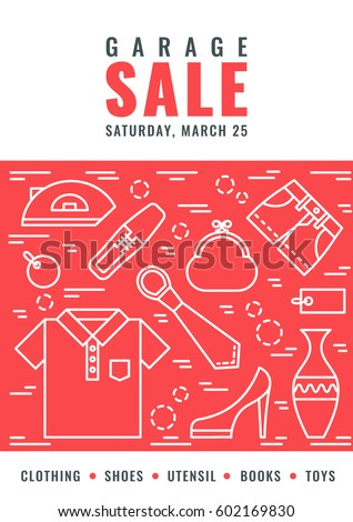 Garage Sale Flyer Template Vector Line Stock Vector