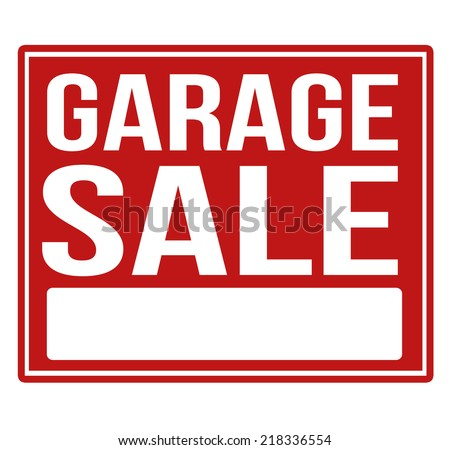 Garage sale red sign with copy space isolated on a white background, vector illustration - stock vector