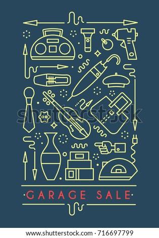 Garage Sale Sign Template For Poster Banner Flyer Yard