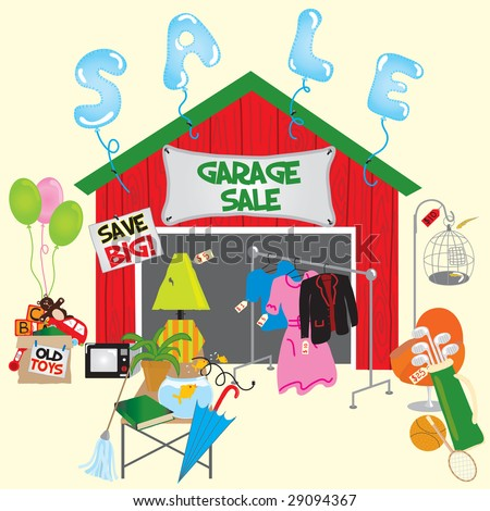 garage sale with signs and household items