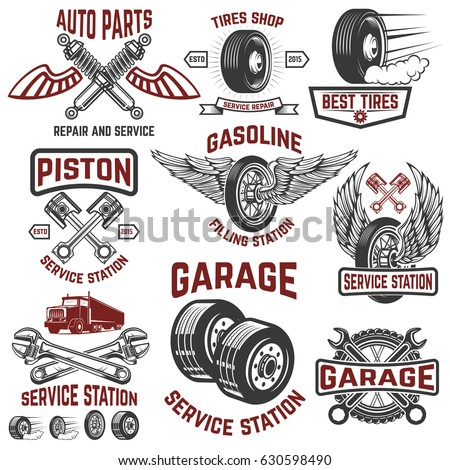 Garage Service Station Tires Shop Auto Parts Store Design Elements For Logo