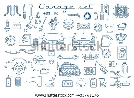 Garage Vector Car Parts Set Outline Stock Vector 483761176 ...