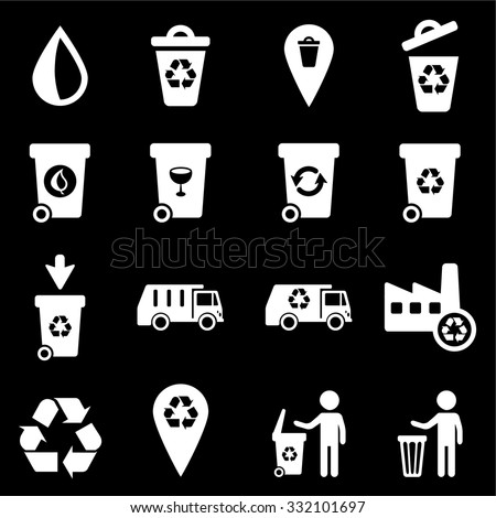 Garbage and recycle icons