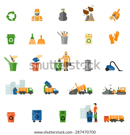 Garbage and trash flat icons set. Trash export and recycle, clean and bucket, vector illustration - stock vector