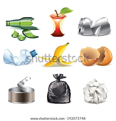 Garbage and waste icons detailed photo-realistic vector set - stock vector