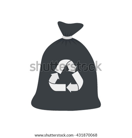 Garbage bag icon  flat vector illustration isolated on white background - stock vector
