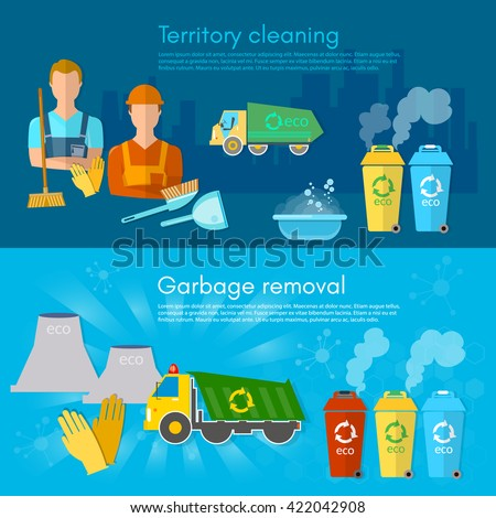 Garbage banner garbage sorting scavenger team sorting waste for recycling separation of waste on garbage bins vector - stock vector