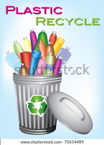 "garbage bin ""plastic recycle"" - stock vector"