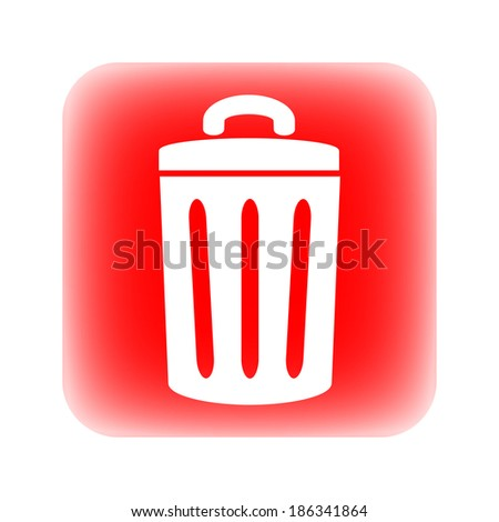 Garbage button on white background. - stock vector
