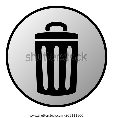 Garbage button on white background. Vector illustration. - stock vector