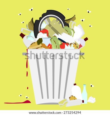 Garbage can full of trash. Large trash bin overflowing garbage (rotten fruit, old tires, packing of plastic, metal and glass). Trash fallen to the ground. Flies flying. - stock vector
