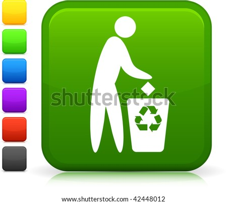 Garbage Can icon on square internet button  Six color options included.