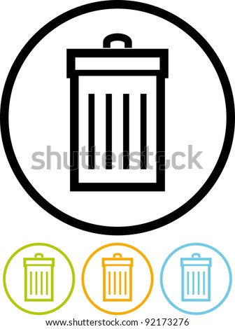 Garbage can - Vector icon isolated on white - stock vector
