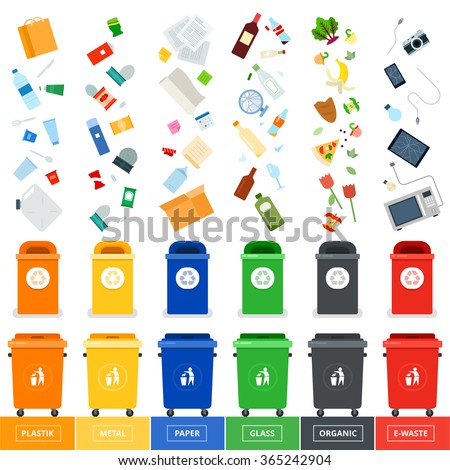 Garbage cans vector flat illustrations. Many garbage cans with sorted garbage. Sorting garbage. Ecology and recycle concept. Trash cans isolated on white background - stock vector