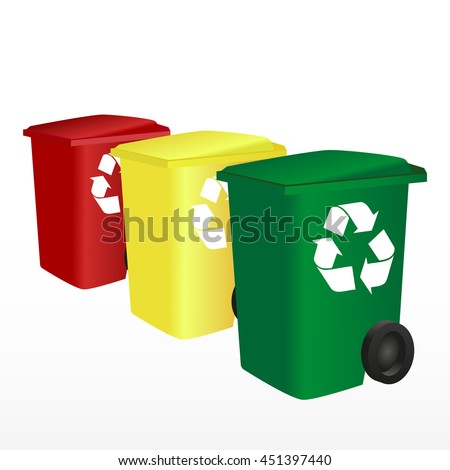 Garbage cans vector illustrations. Sorting garbage. Ecology and recycle concept. Trash cans isolated on white  - stock vector