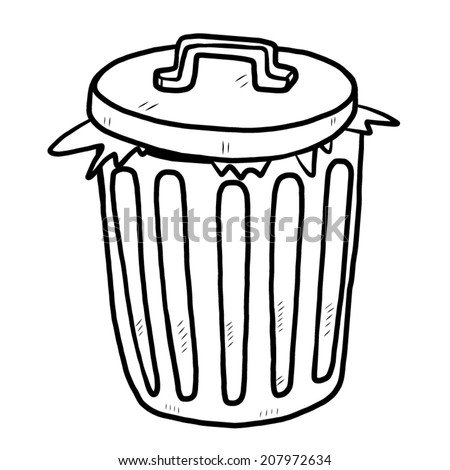 garbage / cartoon vector and illustration, black and white, hand drawn, sketch style, isolated on white background. - stock vector