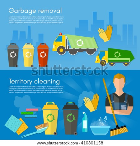 Garbage collection banner garbage sorting scavenger team sorting waste for recycling separation of waste on garbage bins vector illustration - stock vector