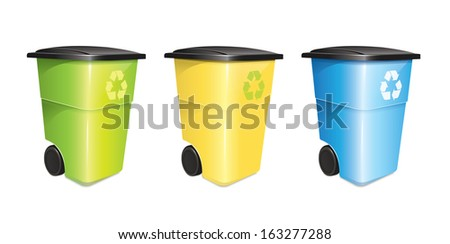 Garbage Container Set - stock vector