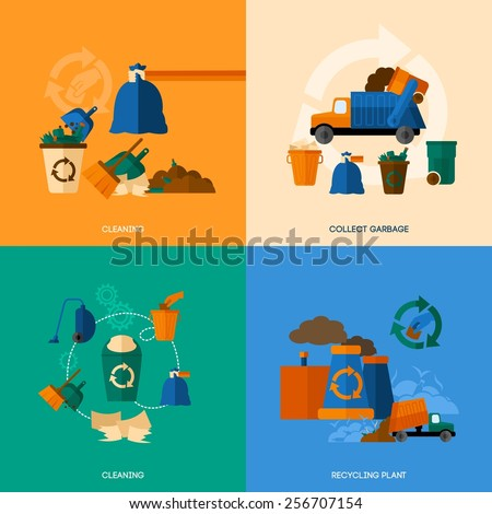 Garbage design concept set with cleaning collect and recycling plant flat icons isolated vector illustration - stock vector