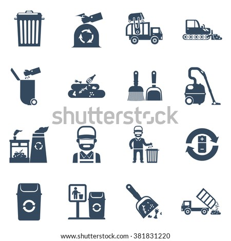 Garbage disposal black icons set with cleaner garbage can recycling plant isolated vector illustration