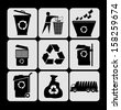 garbage icons set - stock vector